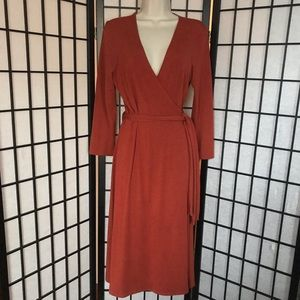 Burnt Orange Wrap Dress with Wrap
